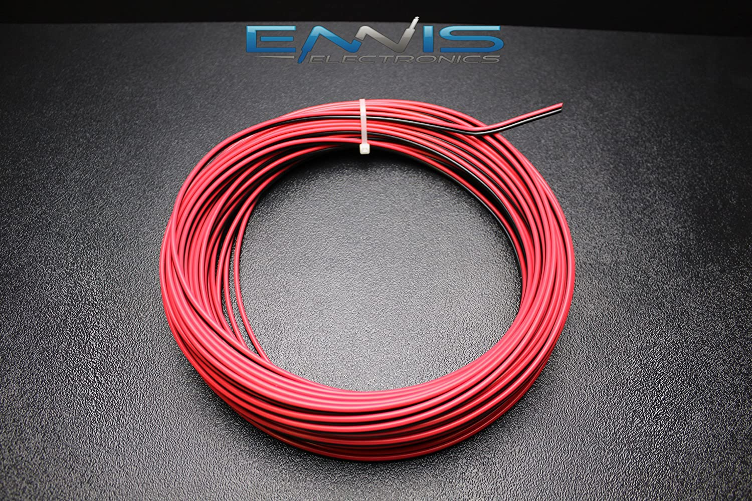 16 GAUGE 25 FT RED BLACK SPEAKER ZIP WIRE AWG CABLE POWER STRANDED COPPER CLAD BY ENNIS ELECTRONICS