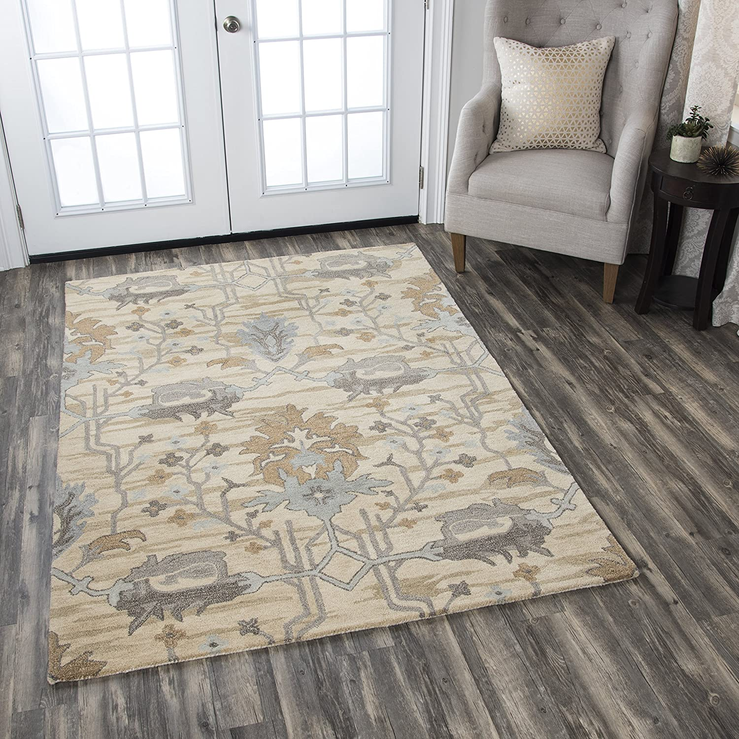 Rizzy Home Valintino Collection Wool Area Rug, 9' x 12', Beige/Gray Blue/Gray/Cream/Light Brown