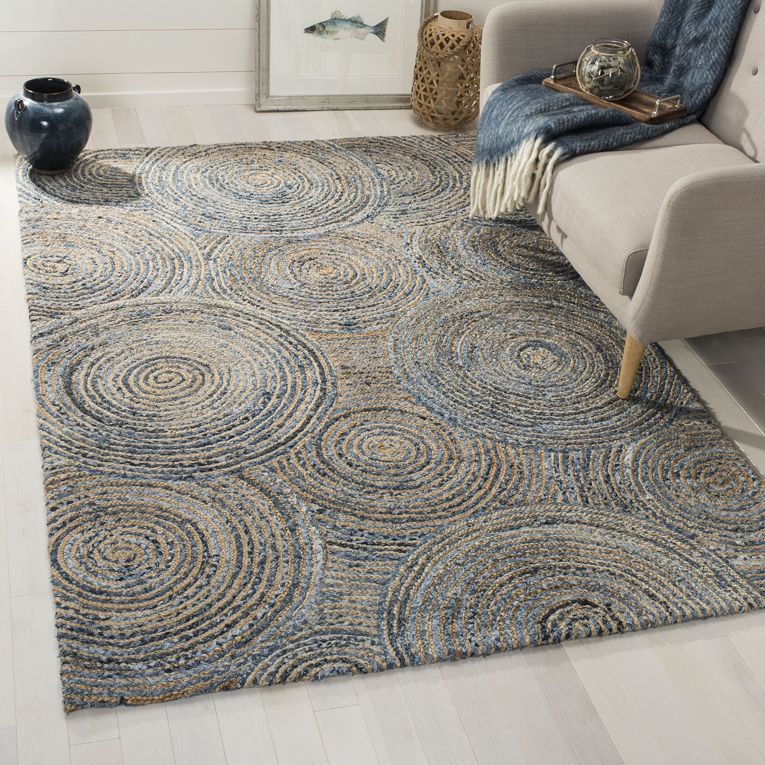 Safavieh CAP603A-8 Cape Cod Collection Flat Weave Handmade Area Rug, 8' x 10', Natural/Denim by Safavieh