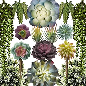 Caqpo Artificial Succulent Plants - 15 Pack - Premium Unpotted Face Succulent Plants - Realistic Textured Succulents - Fake Succulent Plants for DIY - Faux Cactus Plant Bulk - Feaux Succulent Plants