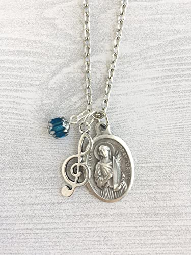 Amazon st cecilia necklace gift for musicians catholic st cecilia necklace gift for musicians catholic jewelry confirmation saint necklace catholic aloadofball Gallery