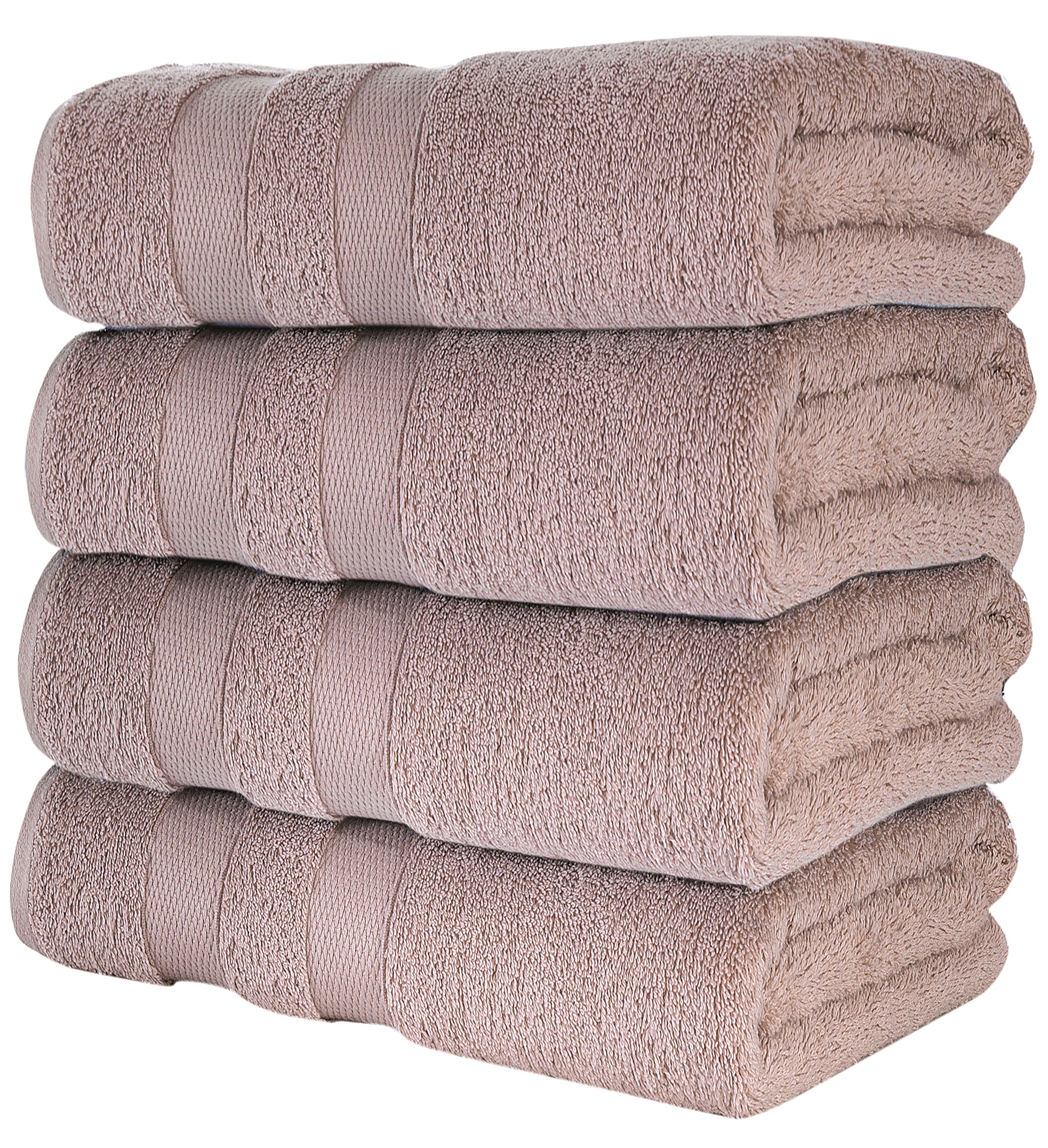 Loma Sierra Bath Towel Set- Pack of 4 - Soft Plush Quick Dry and Highly Absorbent Turkish Towels for Bathroom, Hotel and Spa -%100 Cotton Ring Spun 28x54-Dobby Borders (Linen)