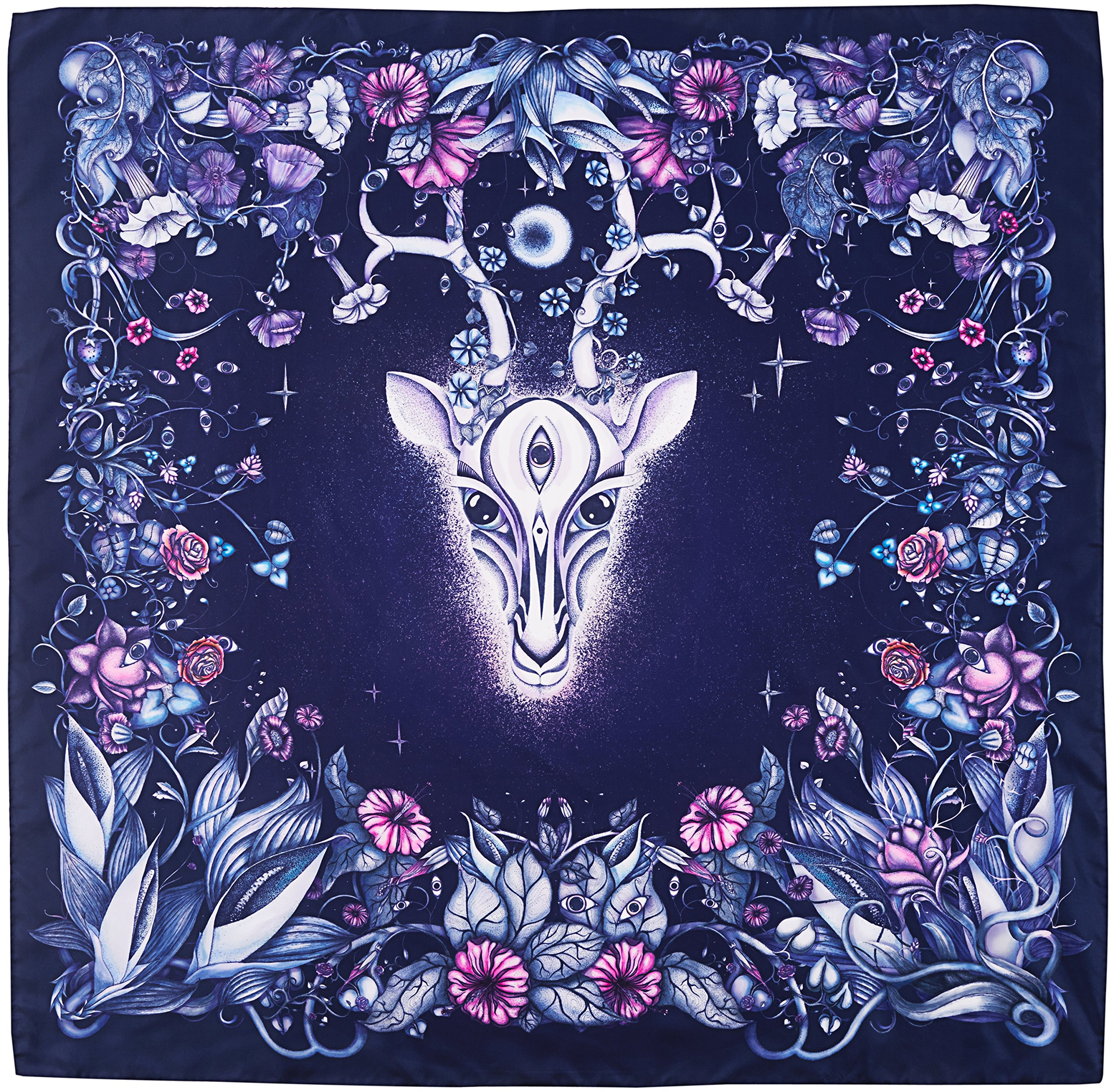 R. Culturi Handmade in Italy Silk Twill Luxury Artwork Scarf Shawl (Navy/Purple) by R. Culturi