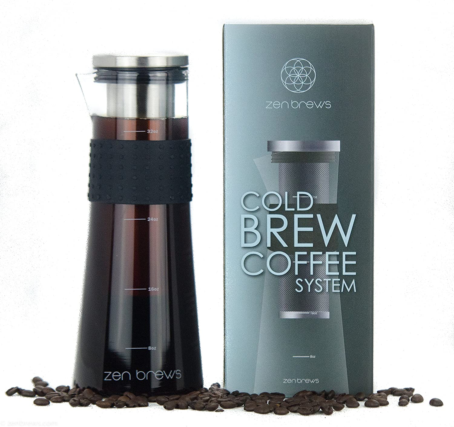 Cold Brew Coffee Maker by Zen Brews | Make Low Acidity - High Caffeine Cold Brew Coffee at Home | 32oz Glass Carafe w/Stainless Steel Filter + Extra Gasket | Silicone Grip | FREE e-Recipe Book