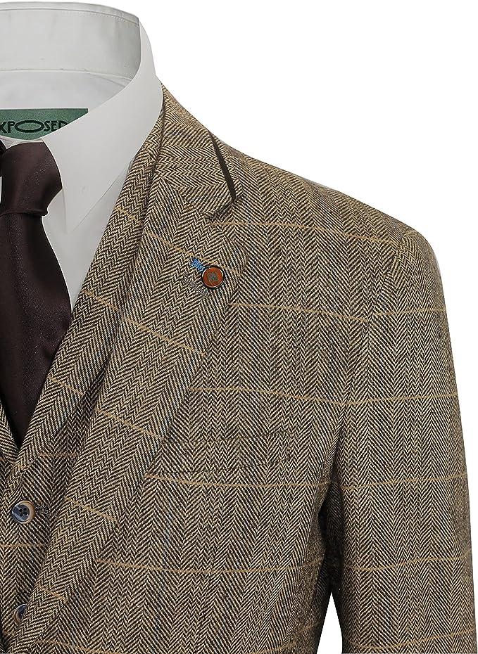 Mens 3 Piece Tweed Suit Vintage Tan Brown Herringbone Check Retro Slim Fit Jacket Waistcoat Trousers Chest UK 36 EU 46,Trouser 30,Tan Brown