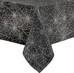 "Benson Mills Twinkle Halloween Spider Web Fabric Metallic Tablecloth (Black, 60"" X 120"" Rectangular)"