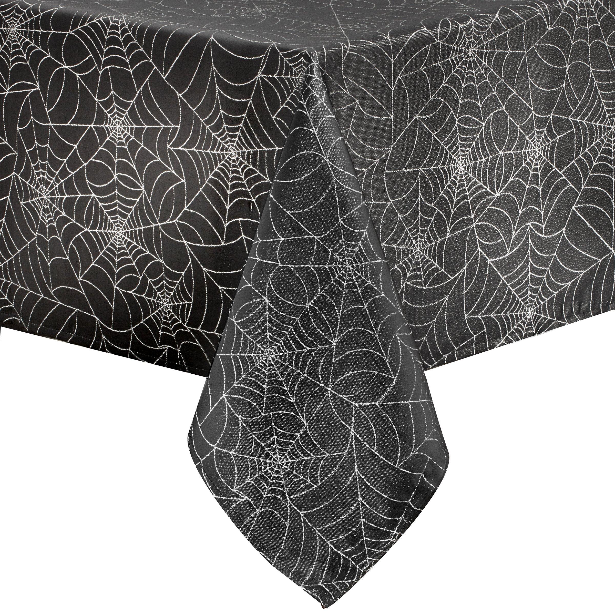 Benson Mills Twinkle Halloween Spider Web Fabric Metallic Tablecloth (Black, 52'' x 52'' Square)