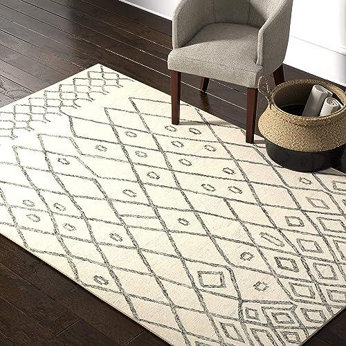 Amazon Brand Rivet Geometric Boho Bohemian Wool Area Rug