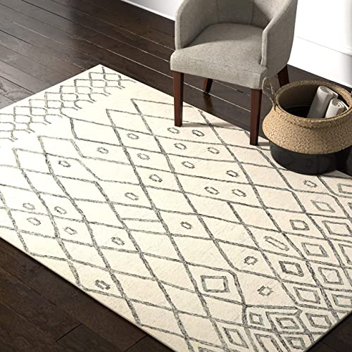 Rivet Geometric Boho Bohemian Wool Area Rug, 5 x 8 Foot, Cream