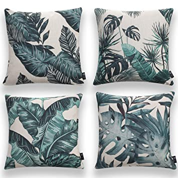 """Pumelo tree Throw Pillows Cover, Pack of 4 Cushion Case Set, Cozy Burlap Pillow Cases for Home Decoration Sofa Bedroom 18"""" x 18"""" 45 x 45cm. (Pattern ..."""