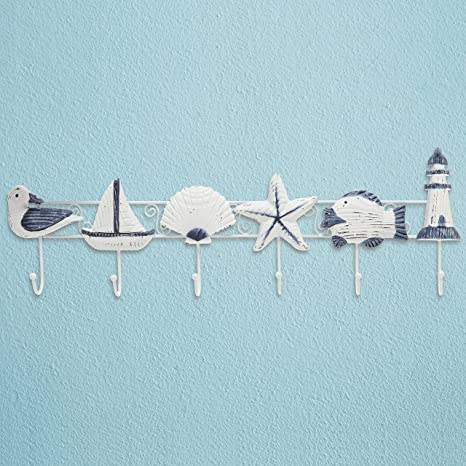 Superieur Decorative Nautical Seaside Design Wood U0026 Metal Mounted Garment Hanger 6 Coat  Hooks Wall Rack