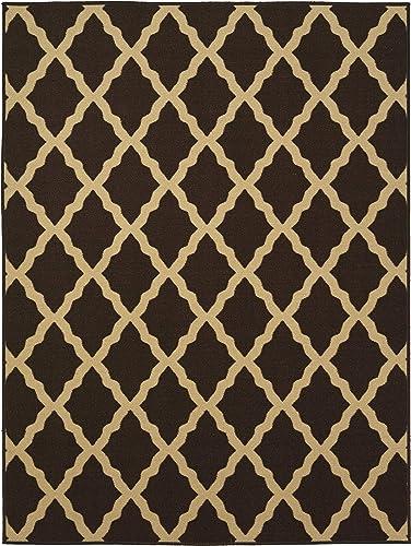 Ottomanson Ottohome Collection Contemporary Morrocan Trellis Design Non-Skid Rubber Backing Area Rug, 5 0 X 6 6 , Brown