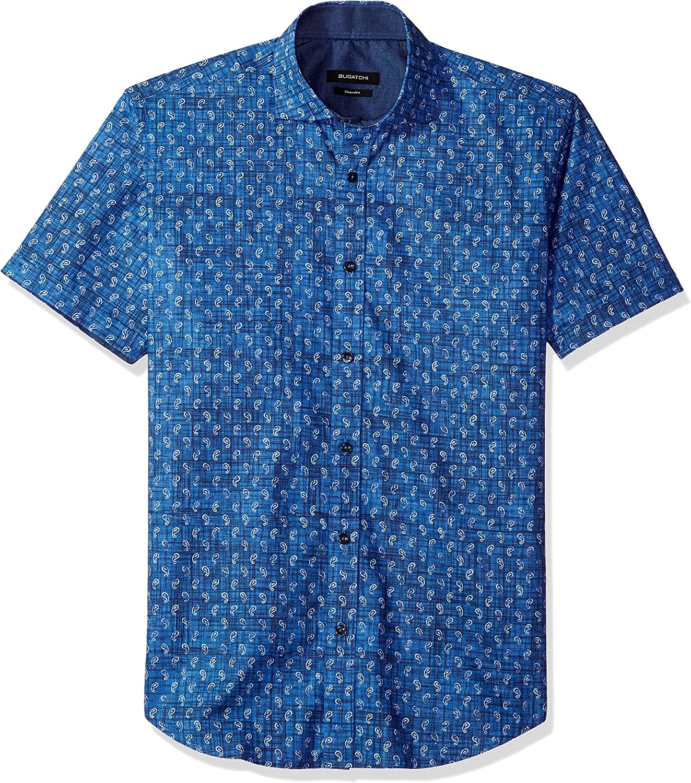 Bugatchi Mens Shaped Printed Cotton Spread Collar Short Sleeve Shirt