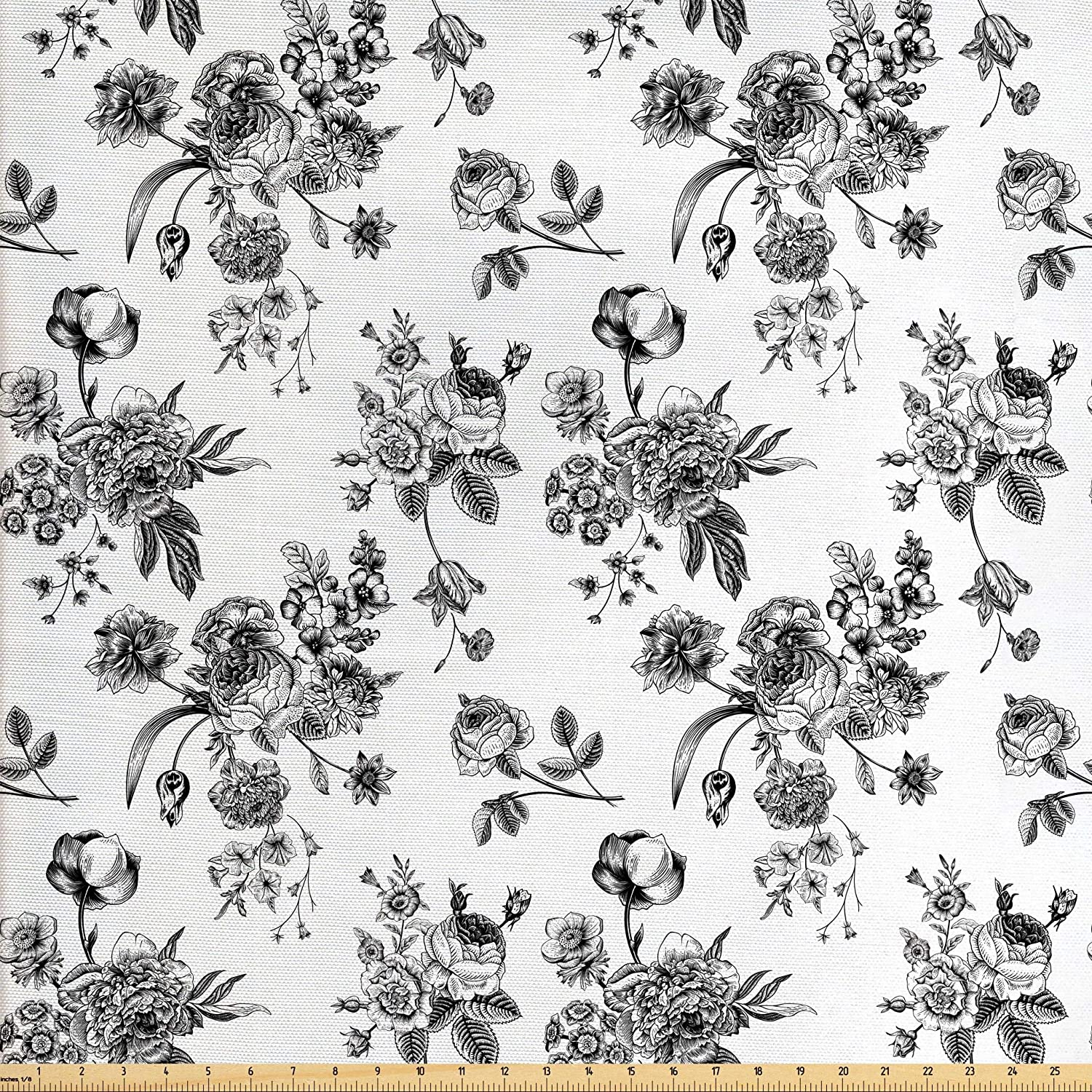 Amazon Com Ambesonne Black And White Fabric By The Yard Vintage