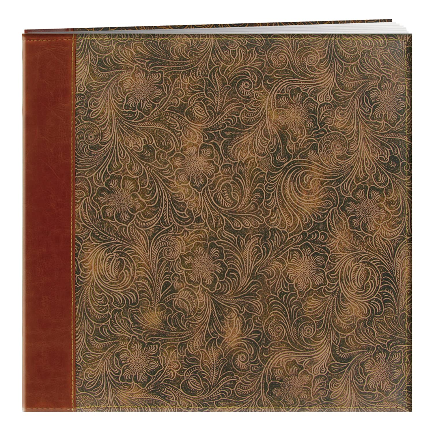 Brown Pioneer 12 Inch by 12 Inch Postbound Embossed Sewn Leatherette Cover Memory Book