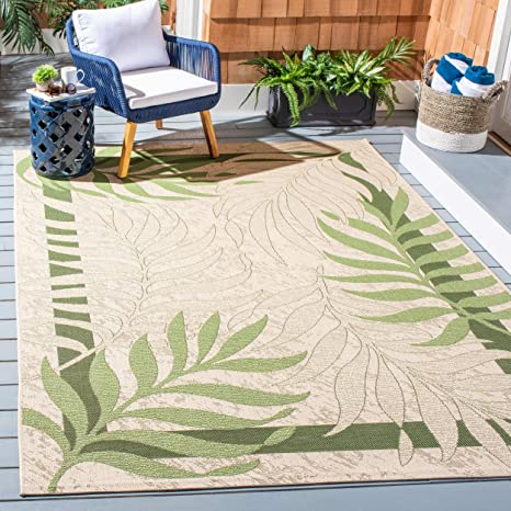 Safavieh Courtyard Collection Cy7836 14a5 Cream And Green Indoor Outdoor Square Area Rug 6 7 Square