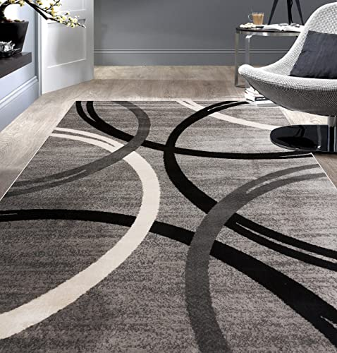 Rugshop Modern Wavy Circles Desing Area Rug 7 10 x 10 2 Gray