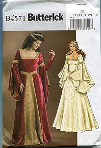 Butterick B4571 Women's Medieval Dress Renaissance Fair Costume Sewing Pattern, Sizes 14-20