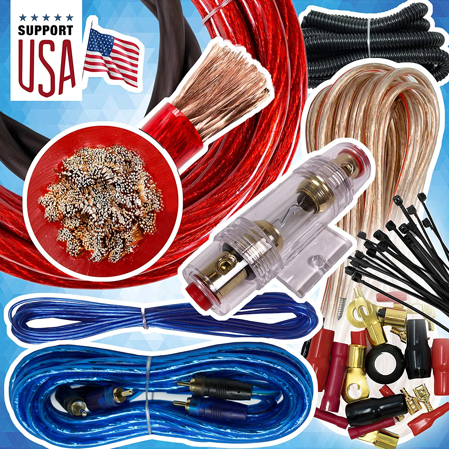Audio360 USA 4 Gauge Cable 2500W Complete Car Amplifier Installation Power Amp Wiring Kit 4 Ga Red for Car Stereo
