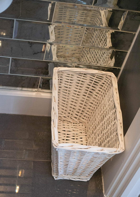 White east2eden Rectangular Willow Wicker Waste Paper Basket Bin