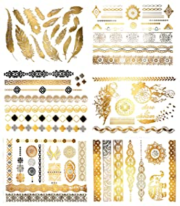 Terra Tattoos Temporary Metallic Tattoos - 75 Fake Gold Tattoos