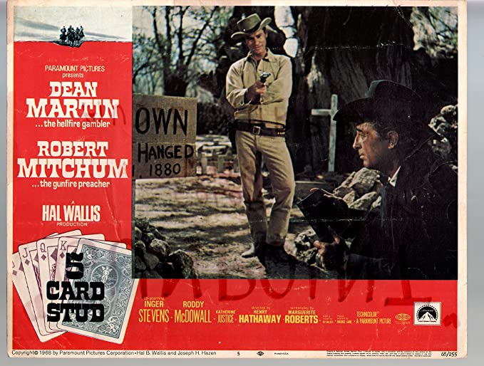 Movie Poster 5 Card Stud Dean Martin Robert Mitchum 11x14 Color