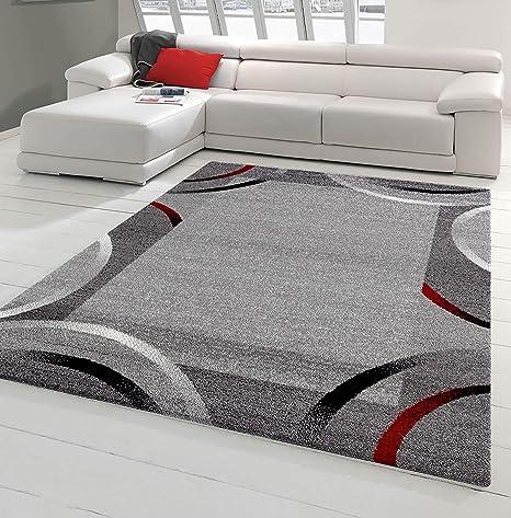 NAZAR Tapis de Salon Moderne avec Bordure - Collection Santana, de  différente Taille et Couleur (Rouge, 80 x 150 cm)