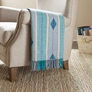 "Stone & Beam Contemporary Stripes and Lines Throw Blanket, 60"" x 50"", Blue/Multicolored"
