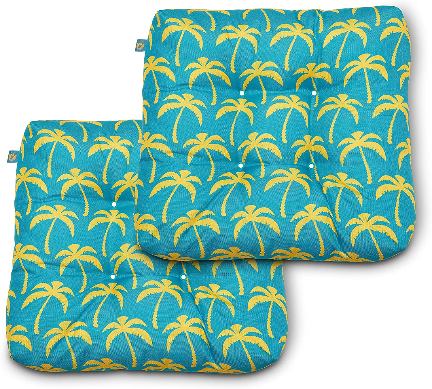 Duck Covers Water-Resistant 19 x 19 x 5 Inch Indoor Outdoor Seat Cushions, Real Teal Palm, 2-Pack