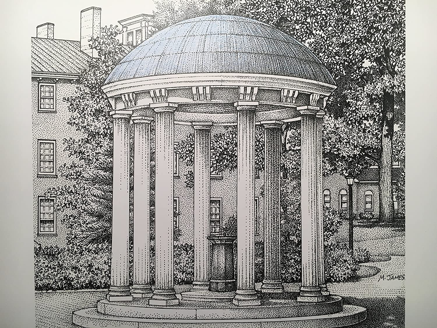 North Carolina Chapel Hill - Old Well 8x10 pen and ink print