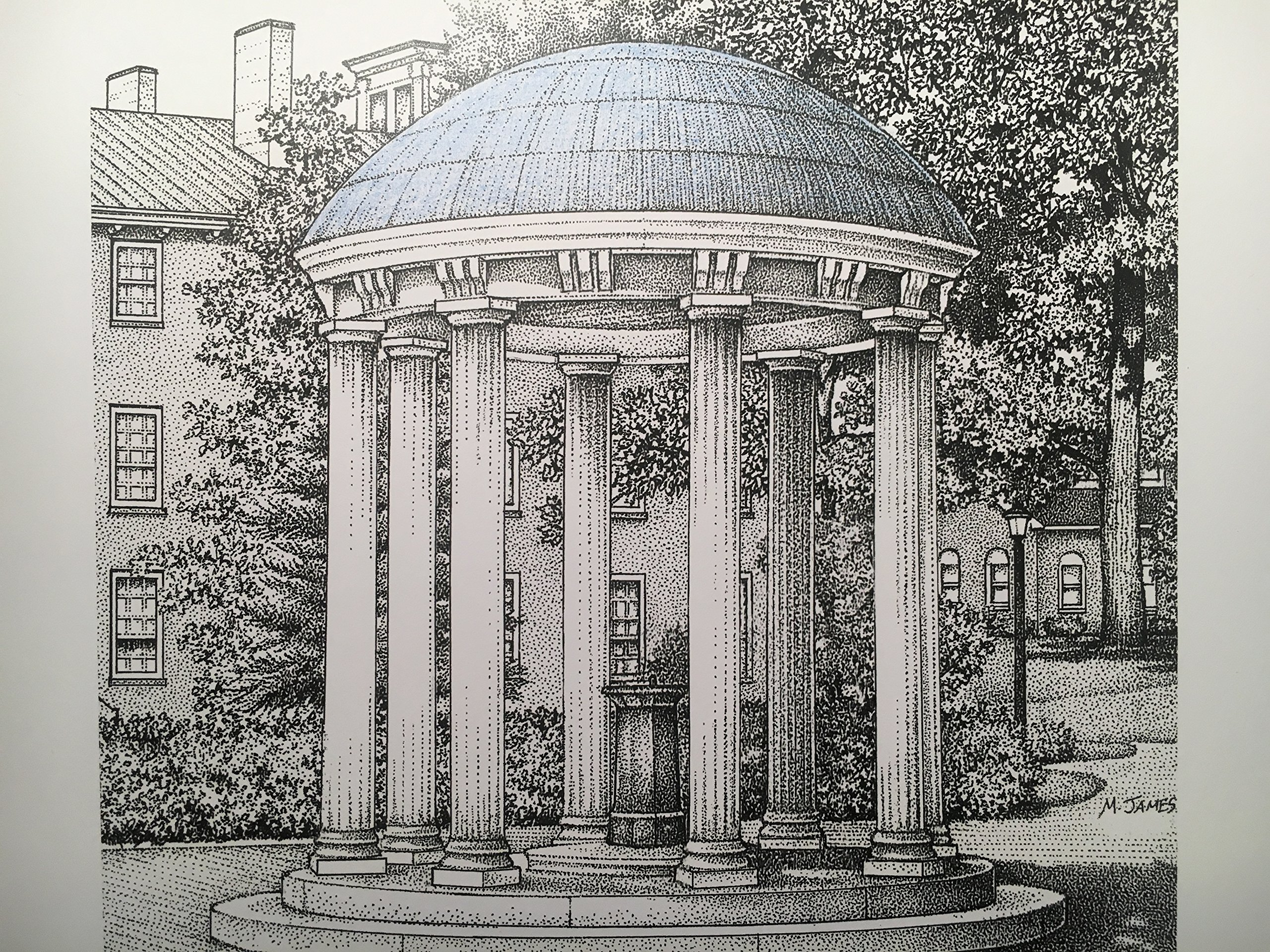 North Carolina Chapel Hill - Old Well 8''x10'' pen and ink print