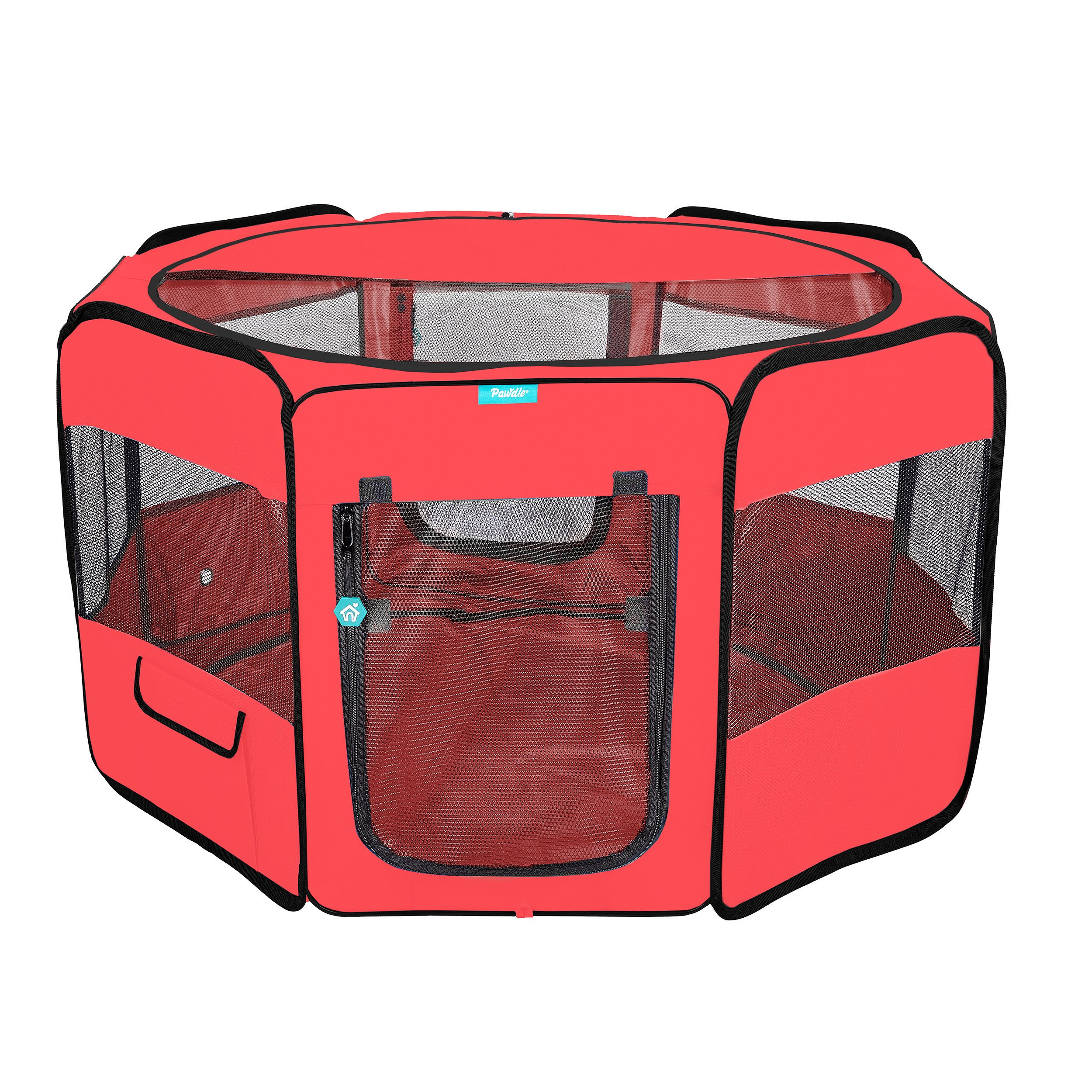 Deluxe Premium Pet Dog Playpen Portable Soft Dog Exercise Pen Kennel with Carry Bag for Dogs, Cats, Kittens, and All Pets (Large, Red) by Pawdle