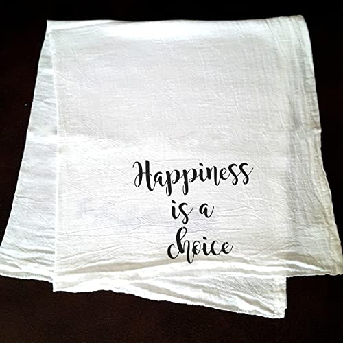 Amazoncom Happiness Is A Choice Quote Stenciled Flour Sack Kitchen