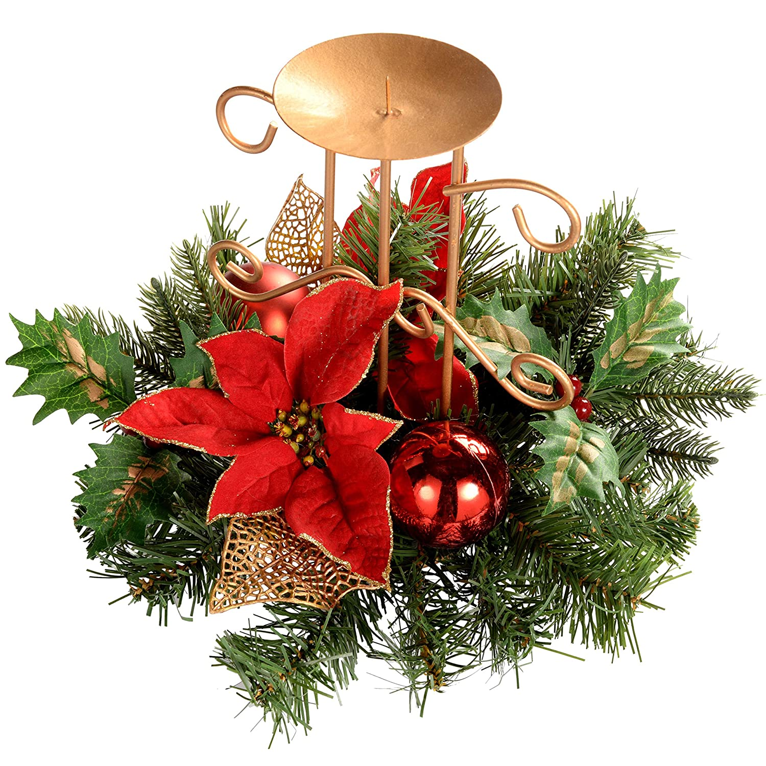 Werchristmas Decorated Table Centre Piece With Single Pillar Candle Holder,