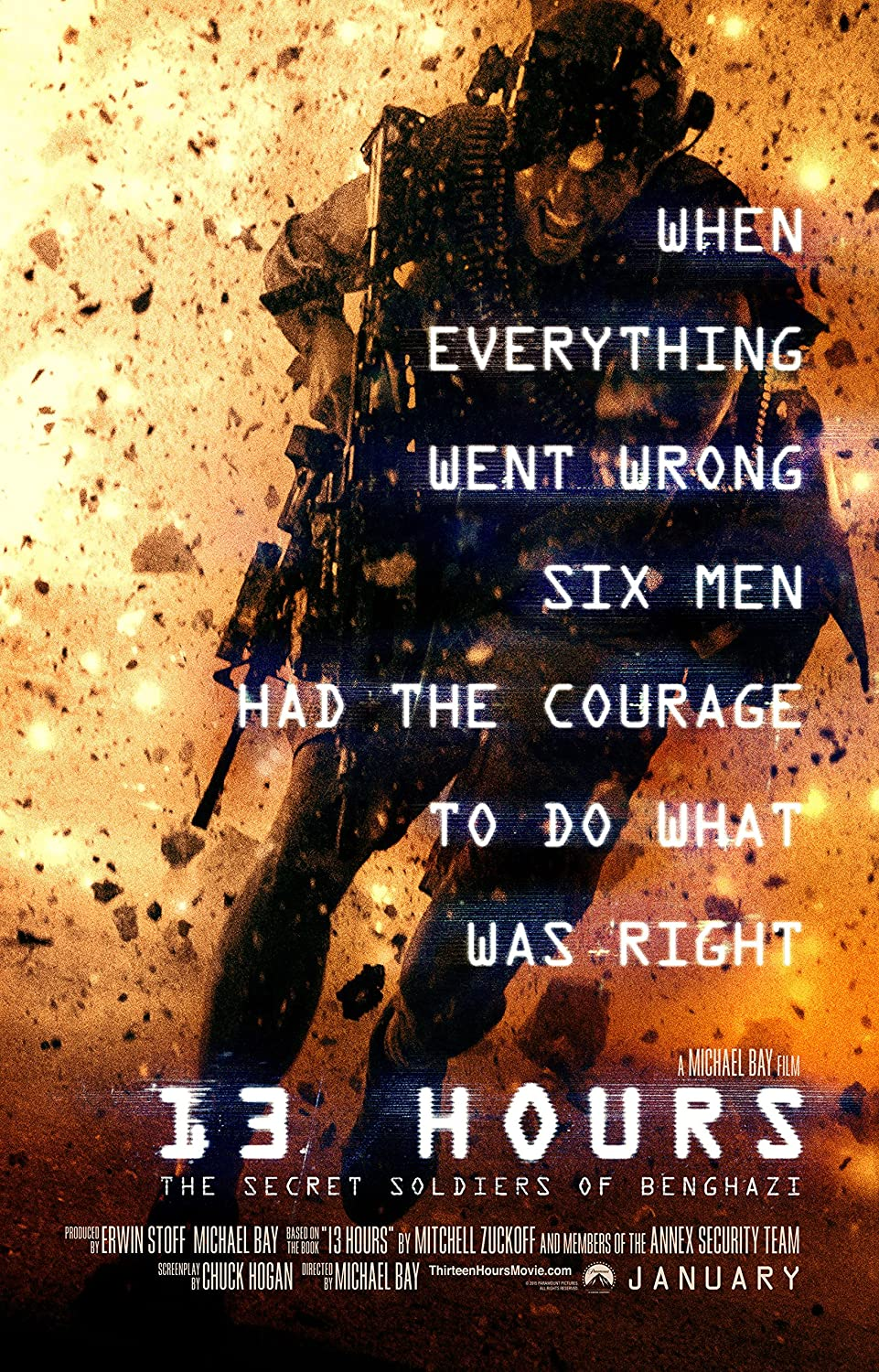 """13 Hours: The Secret Soldiers of Benghazi - Movie Poster (2016), Size 24 x 36"""" Inches , Glossy Photo Paper (Thick 8mil) - John Krasinski, James Badge Dale"""