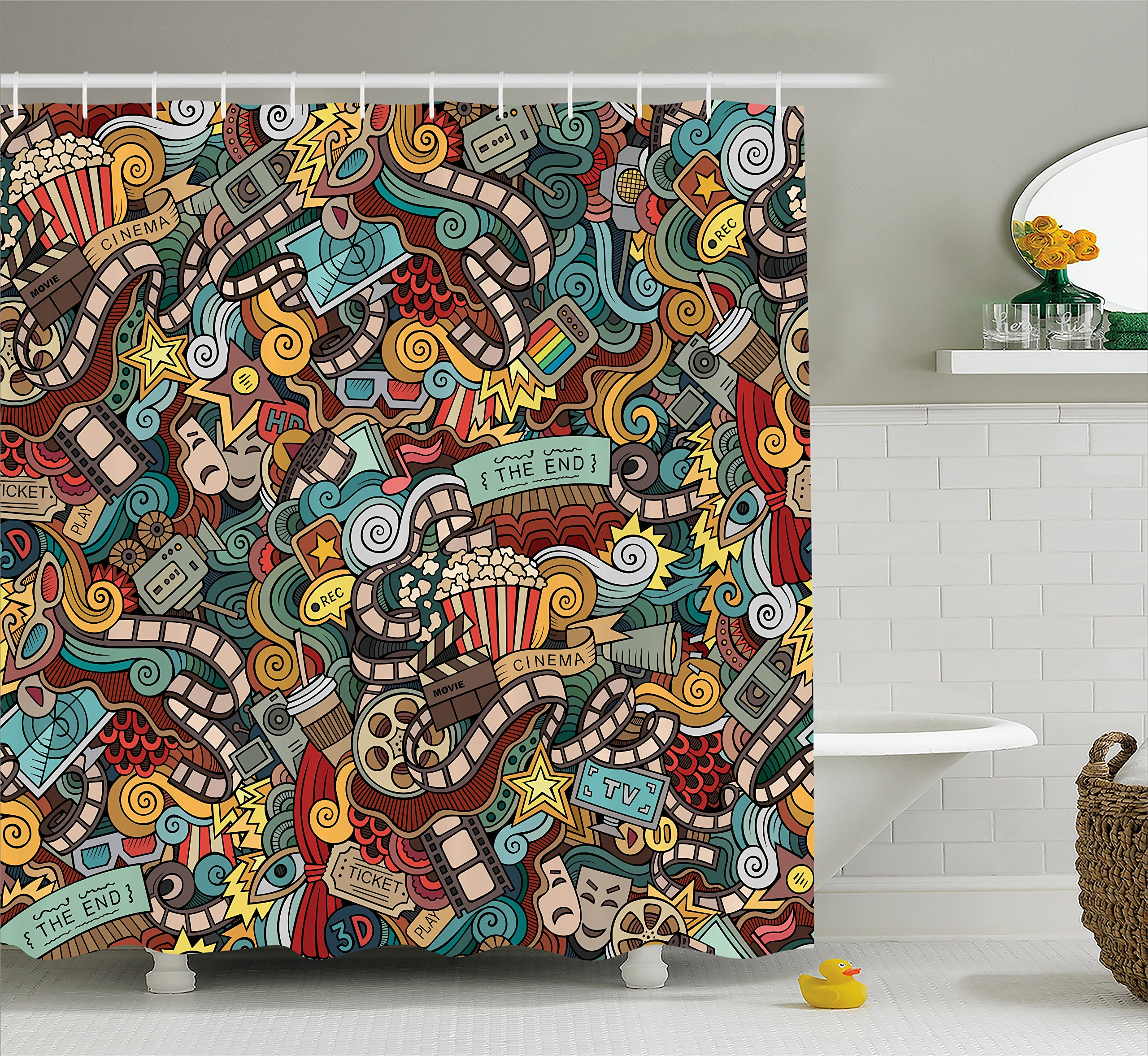 Ambesonne Doodle Shower Curtain, Cinema Items Combined in an Abstract Style Popcorn Movie Reel The End Theatre Masks, Fabric Bathroom Decor Set with Hooks, 70 Inches, Multicolor