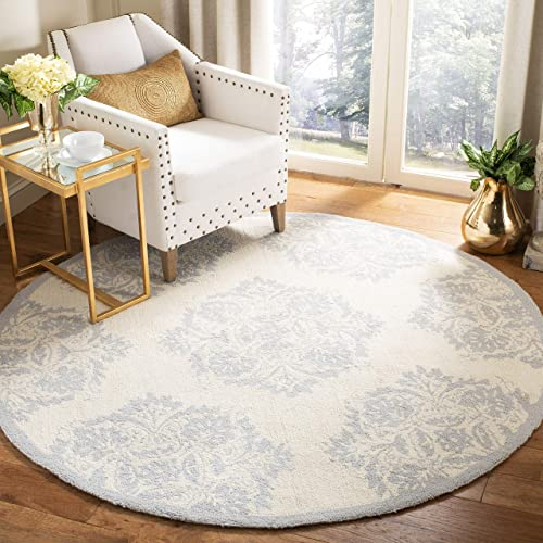 Safavieh Chelsea Collection HK359A Hand-Hooked Ivory and Blue Premium Wool Round Area Rug 5 6 Diameter