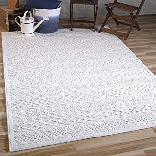 """product image for Orian Rugs Boucle Collection Indoor/Outdoor High-Low Jenna Area Rug 5'2"""" x 7'6"""", Natural Ivory,"""