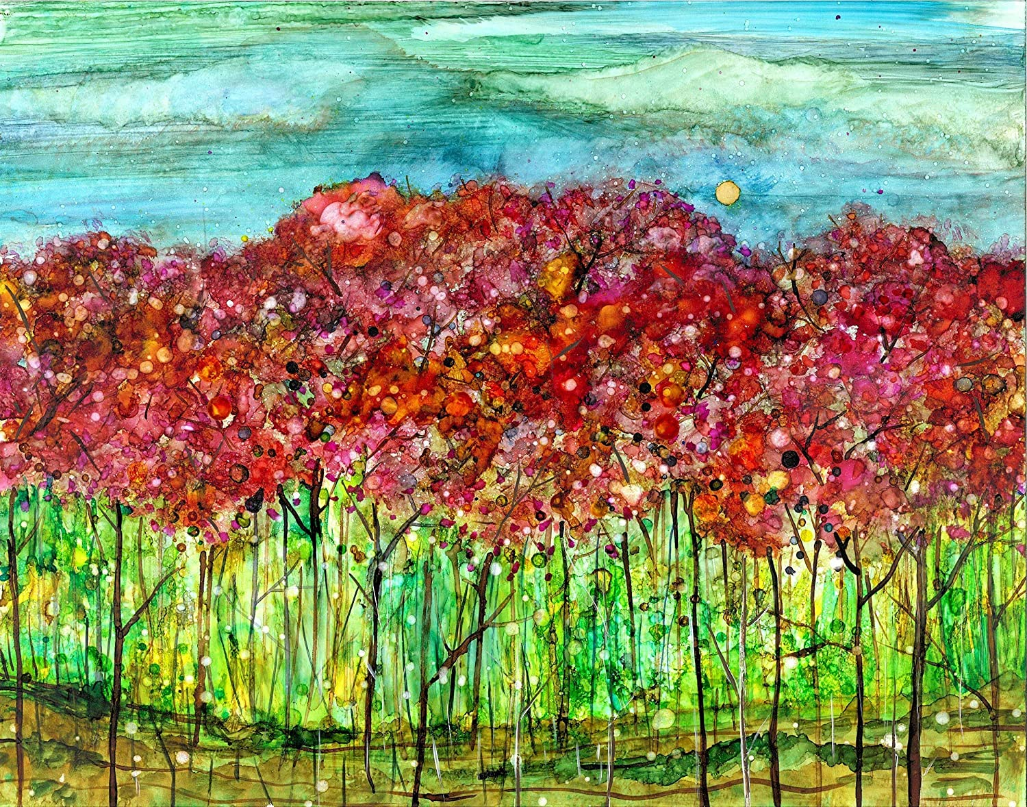 Amazon Com Spring Forest 5 X 7 Artwork Print Pink Blossoms Mother S Day Gift Painting Ideas Floral Art Handmade