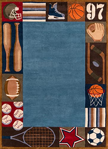 Momeni Rugs Lil Mo Whimsey Hand Made Area Rug, 8 X 10 , Denim
