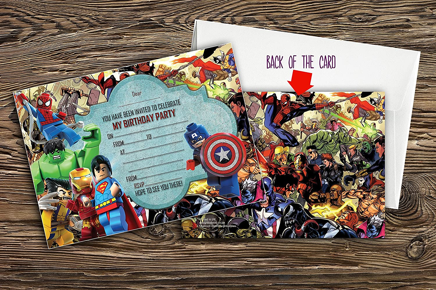 15x AVENGERS PARTY INVITATIONS INVITES WITH ENVELOPES INCLUDED THOR HULK IRONMAN