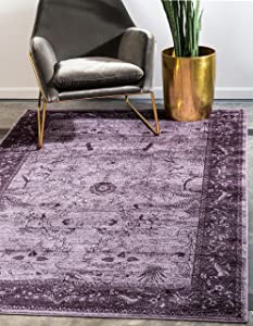 Unique Loom La Jolla Collection Tone-on-Tone Traditional Purple Area Rug (4' 0 x 6' 0)