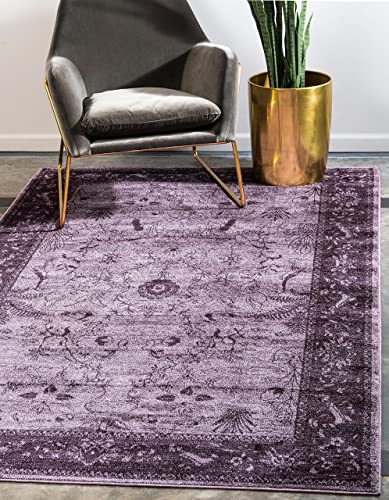 Unique Loom La Jolla Collection Tone-on-Tone Traditional Purple Area Rug 8 0 x 11 0