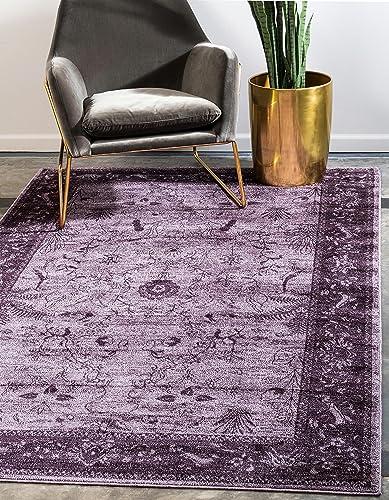 Unique Loom La Jolla Collection Tone-on-Tone Traditional Purple Area Rug 10' 0 x 13' 0