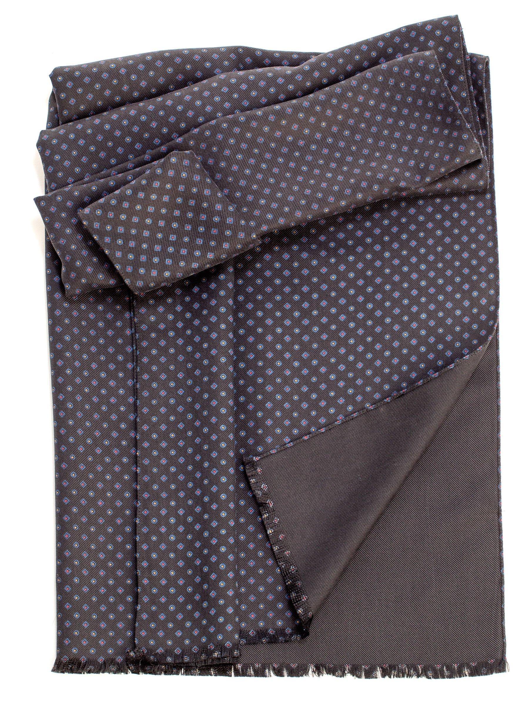 Elizabetta Men's Heavy Thick Silk Twill Italian Reversible Scarf-Black by Elizabetta