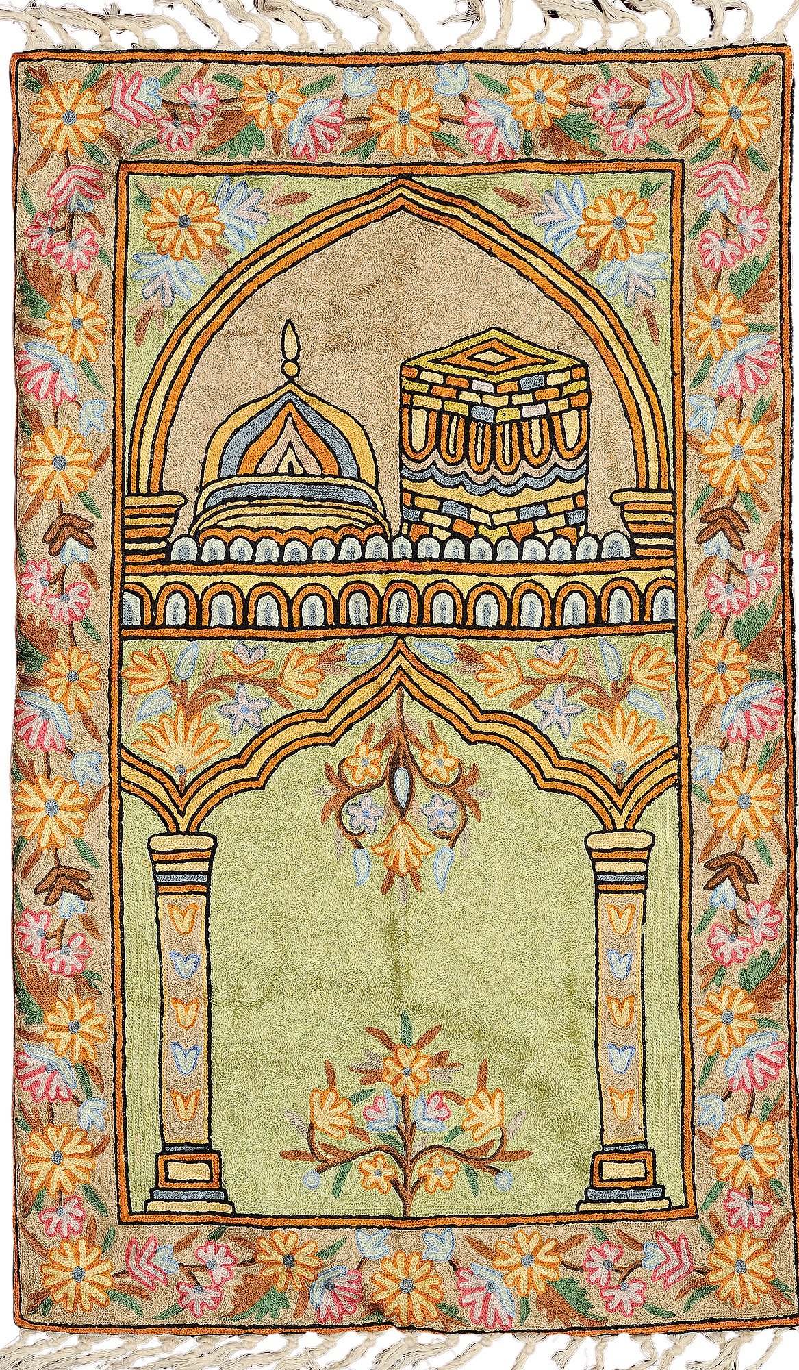 Green and Sandshell Islamic Embroidered Wall Hanging from Kashmir - Resham on Canvas