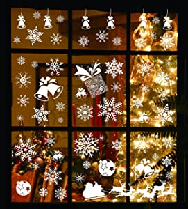 Joiedomi 138 PCs Snowflake Window Clings Decal Stickers for Winter Christmas Holiday Home Decorations Ornaments Holiday Party Supplies.
