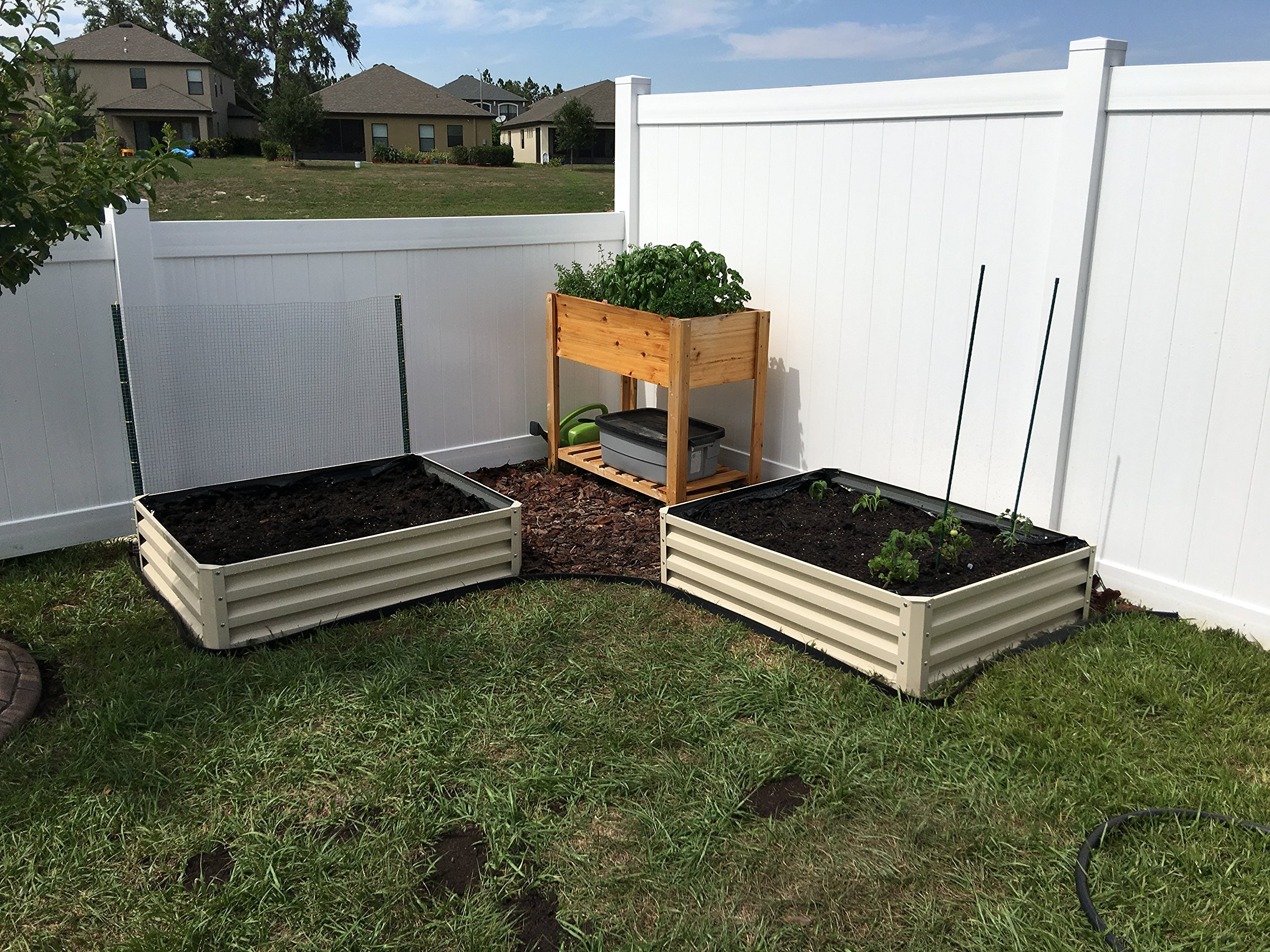 Metal Raised Garden Bed Kit - Elevated Planter Box For Growing Herbs, Vegetables, Flowers, and Succulents (1) 9 Beige Metal Raised Garden Bed Kit