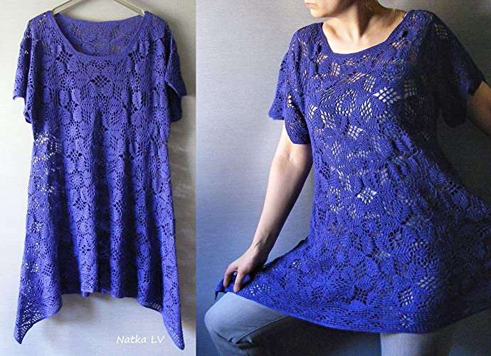 Amazon.com: Crochet blue tunic, asymmetric tunic, boho bohemian ...