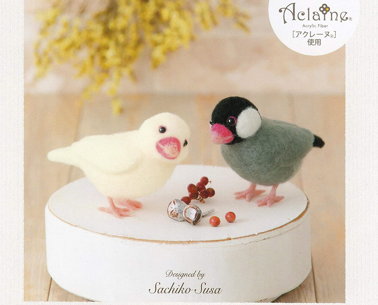 Imported from Japan with English Instructions Cool Beans Boutique Needle Felting DIY Kit White Wren Bird and Sakura Wren Bird in Hamanaka Aclaine